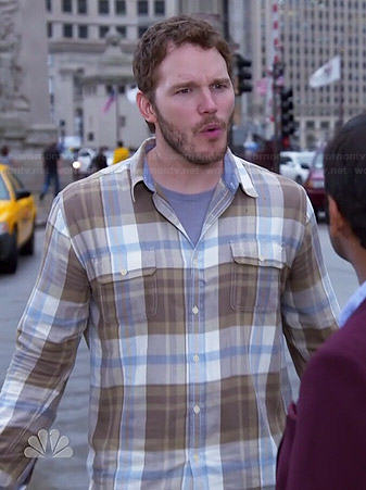 Andy's brown and blue plaid shirt on Parks and Recreation