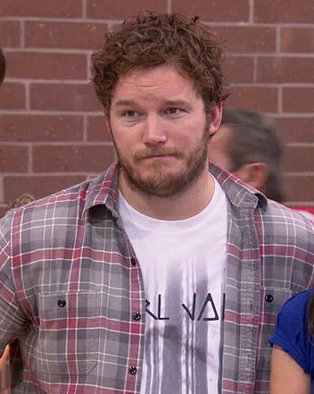 Andy's grey checked shirt on Parks and Recreation