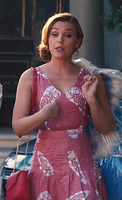 Annabeth's pink v-neck printed dress on Hart of Dixie