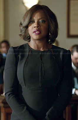 Annalise's black long sleeved dress with cutouts on How to Get Away with Murder