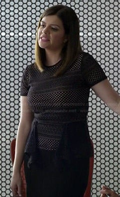 Annie's black mesh peplum top on Marry Me