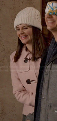Annie's pink toggle coat on Marry Me