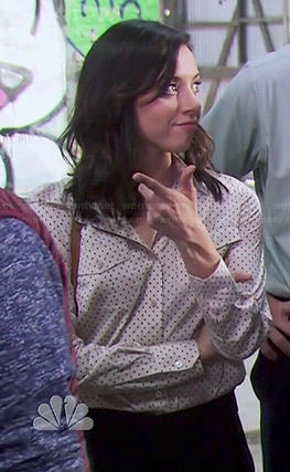 April's cream polka dot shirt on Parks and Recreation
