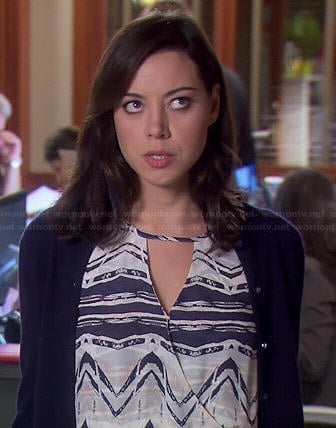 April's blue and white printed faux-wrap dress on Parks and Recreation
