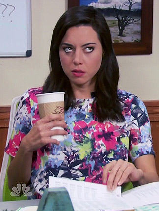 April's bright floral top on Parks and Recreation
