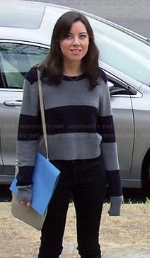 April's grey and navy striped sweater on Parks and Recreation