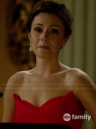April's red strapless gown on Chasing Life