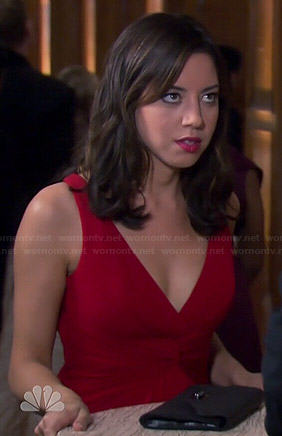April's red v-neck gown on Parks and Recreation