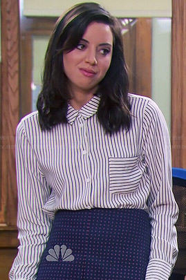 April's striped button down blouse and dotted skirt on Parks and Recreation
