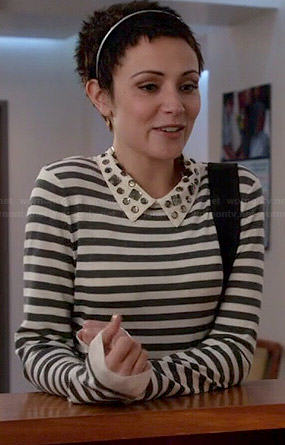 April's striped top with jeweled collar on Chasing Life