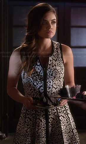 Aria's black and white leopard print dress on Pretty Little Liars