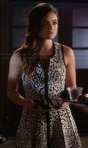Aria's black and white leopard print dress on Pretty Little Liars