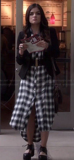 Aria's long plaid shirtdress on Pretty Little Liars