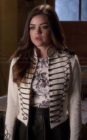 Aria's white military style jacket on Pretty Little Liars