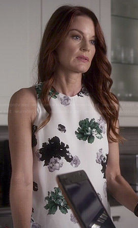 Ashley's white floral top on Pretty Little Liars
