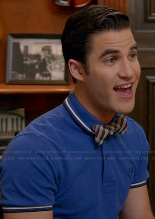 Blaine's blue polo shirt with white trim and checked bow tie on Glee