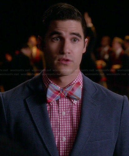 Blaine's red checked shirt and plaid bow tie on Glee