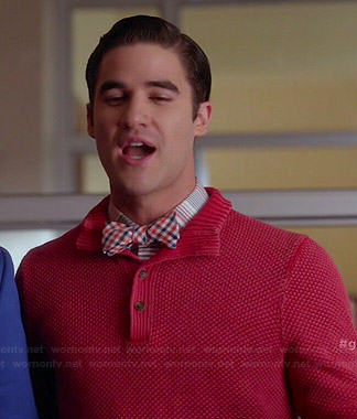 Blaine's red waffle knit sweater and blue/orange checked bow tie on Glee