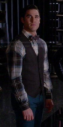 Blaine's plaid shirt and foulard print bow tie on Glee
