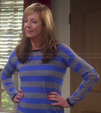 Bonnie's blue and grey striped sweater with elbow patches on Mom