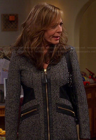 Bonnie's grey coat with leather side panels on Mom