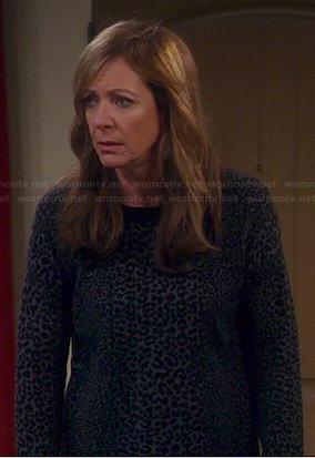 Bonnie's grey leopard print sweater on Mom