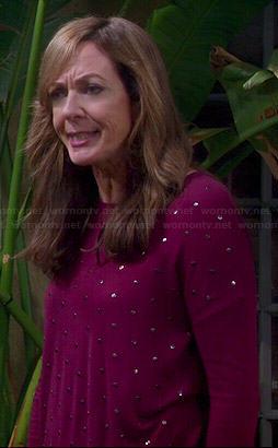 Bonnie's purple studded sweater on Mom