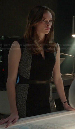 Caitlin's grey and black front panel dress on The Flash