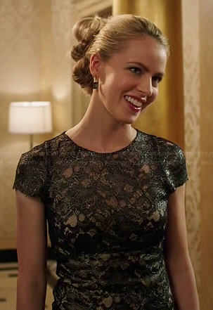 Cassandra's black leather lace dress on 12 Monkeys