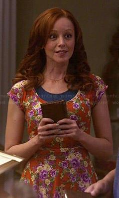 Cassandra's orange floral skater dress on The Librarians