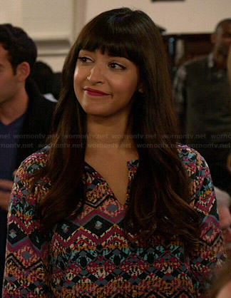 Cece's multi colored print shift dress on New Girl