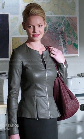 Charlie's grey leather peplum jacket on State of Affairs