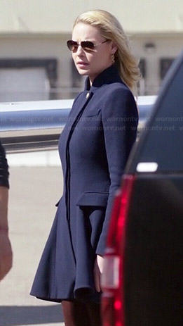 Charlie's navy blue flared coat on State of Affairs