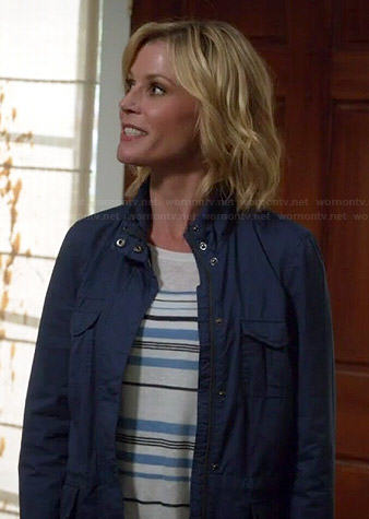 Claire's blue striped sweater and jacket on Modern Family