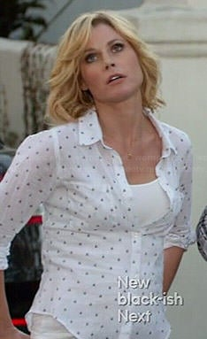 Wornontv Claire S White Dotted Shirt On Modern Family Julie Bowen Clothes And