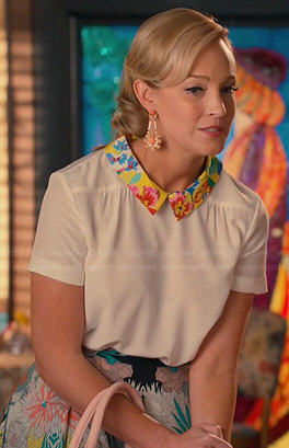 Cricket's cream top with floral collar and floral skirt on Hart of Dixie