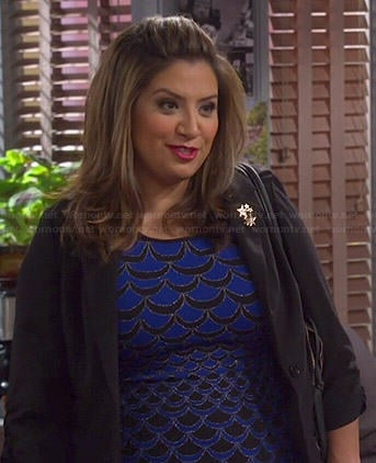 Cristela's blue scale print dress on Cristela