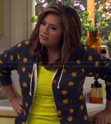 Cristela's peach print hoodie on Cristela
