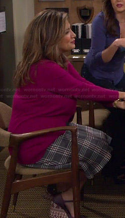 Cristela's plaid skirt and purple wedges on Cristela