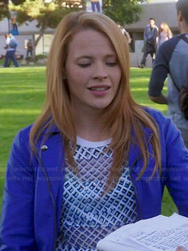 Daphne's geometric printed top and blue leather jacket on Switched at Birth