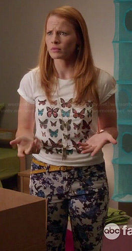 Daphne's butterfly print tee and floral jeans on Switched at Birth