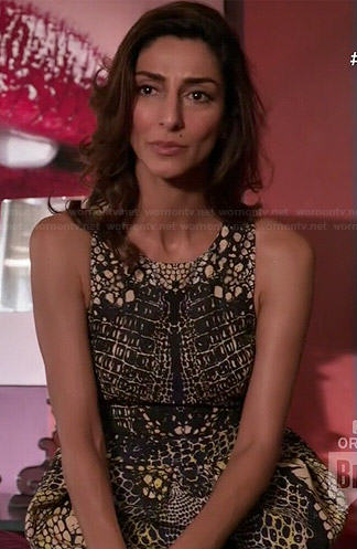 Delia's scale printed dress on Girlfriends Guide to Divorce