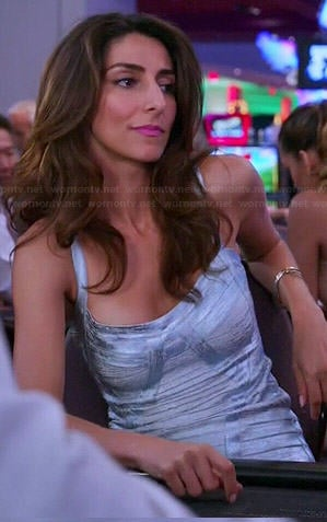Delia's silver bandage dress on Girlfriends Guide to Divorce