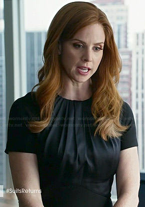 Donna's black short sleeved dress with gathered neck on Suits