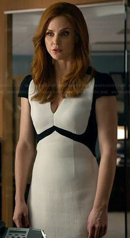 Donna's white and black v-neck cap sleeve dress on Suits