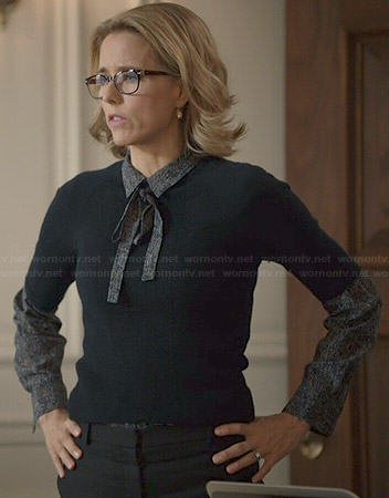Elizabeth's printed blouse with neck tie on Madam Secretary