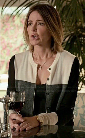 Ellie's black, grey and white colorblock cardigan on Cougar Town