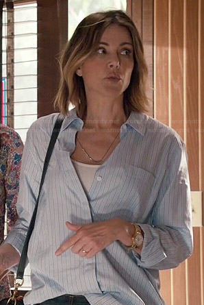 Ellie's blue pinstriped shirt on Cougar Town