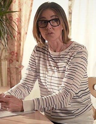 Ellie's white broken stripe sweater on Cougar Town
