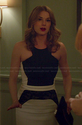 Emily's black and white lace panel dress on Revenge